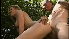Young blonde stripper goes outside for some pervy old man penis
