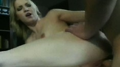 Stunning blonde babe puts her tight holes to work on a lucky cock