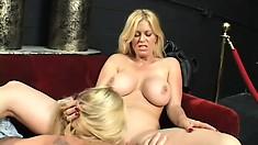 Blonde hotties Brooke and Bianka savor the taste of each other's twats