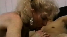 Big breasted granny seduces a young guy and has him banging her snatch