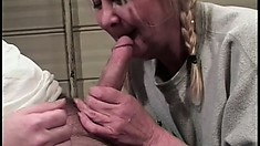 Mature couple enjoy a round of rough doggy style pounding indoors