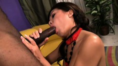 Dirty Asian babe grits her teeth and takes a hard black stuffing